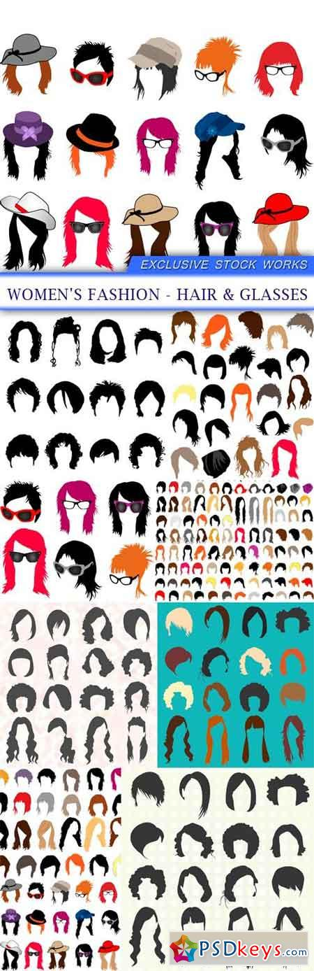 Women's fashion - hair & glasses 9X EPS