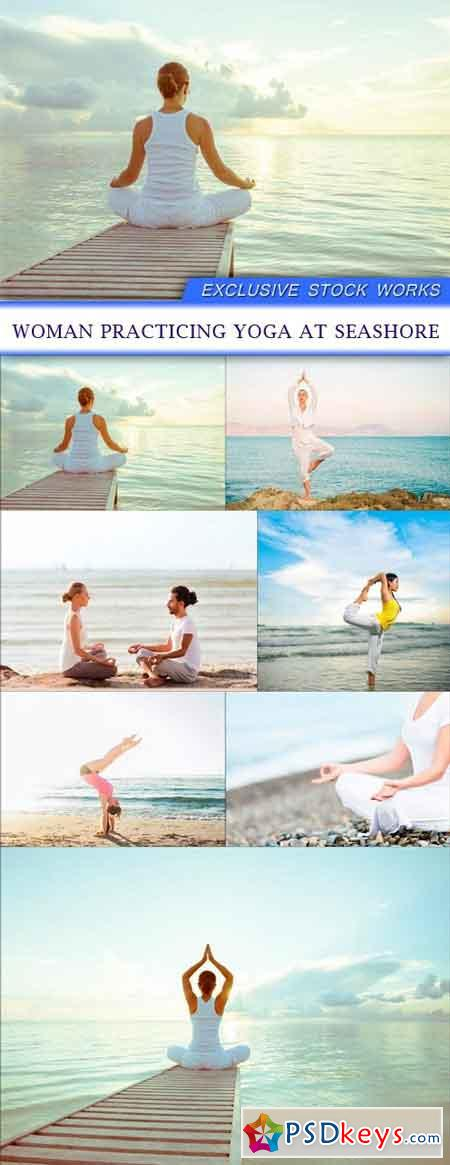 Woman practicing yoga at seashore 7X JPEG