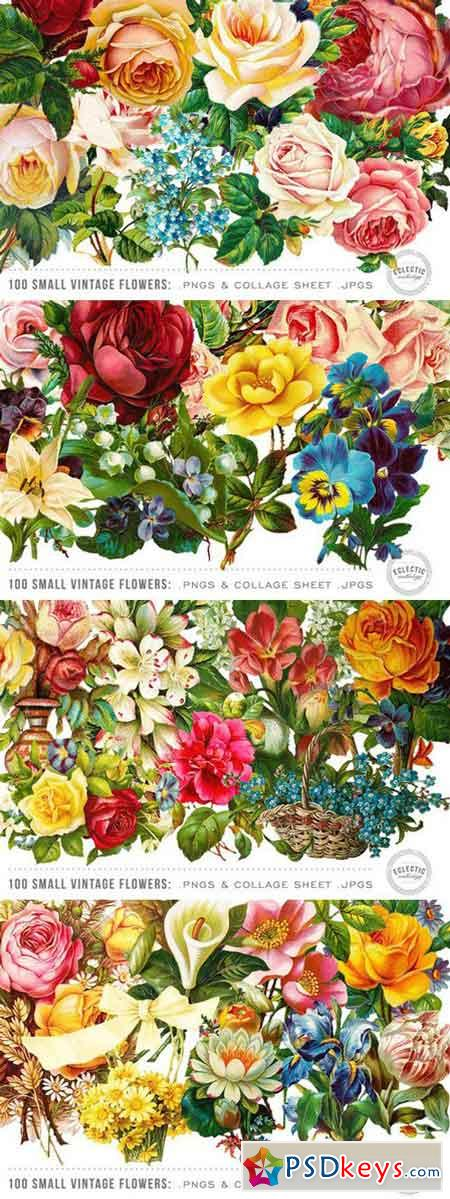 100 Small Vintage Flower Graphics 27673