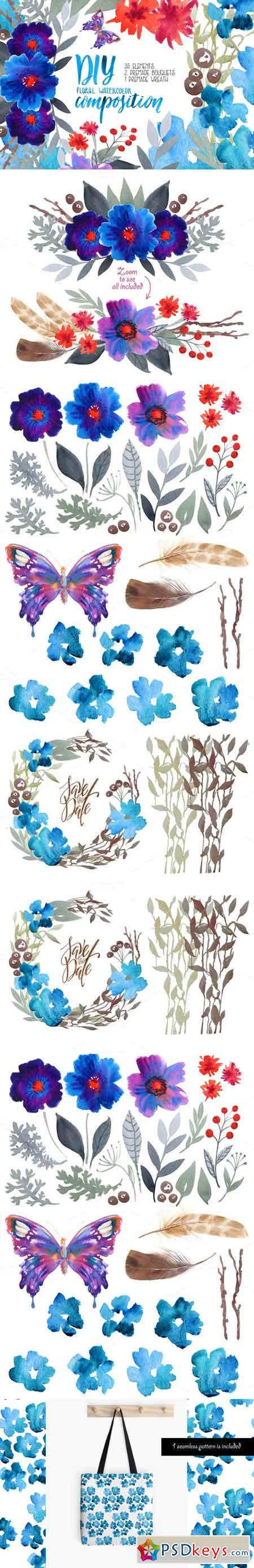 Watercolor floral DIY - 35 elements! 674059