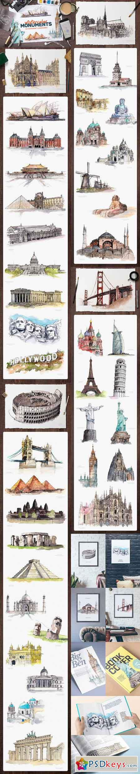 Watercolor Monument Paintings 706809