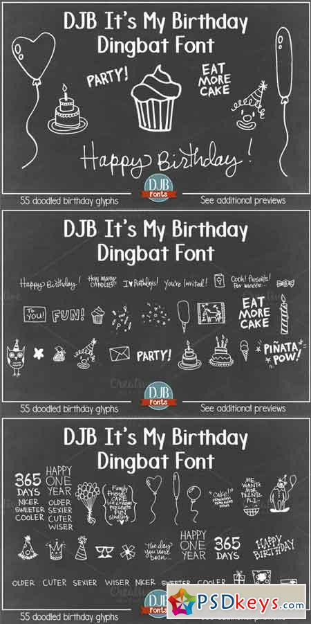 DJB It's My Birthday Dingbat Font 685825