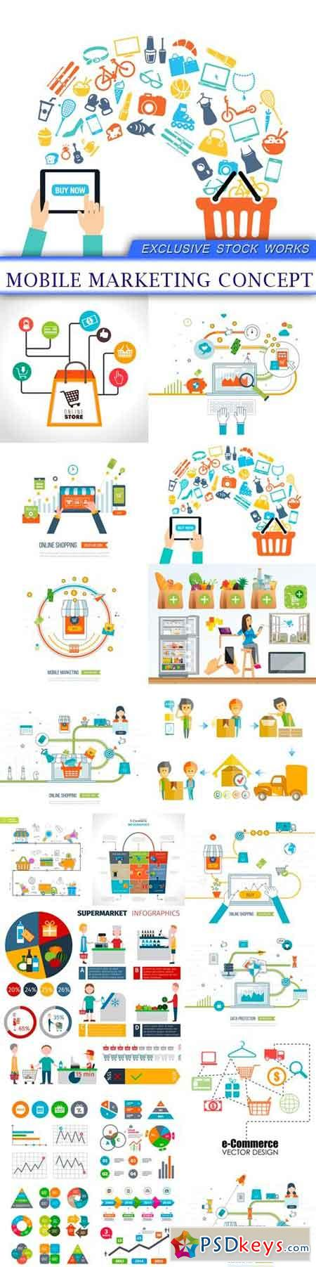 Mobile marketing concept 16X EPS