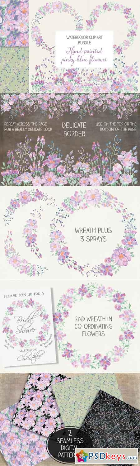 Watercolor bundle pinky-blue blooms 682426