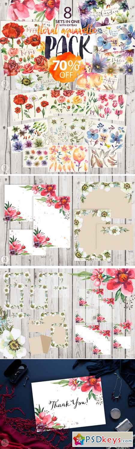 8 sets of floral watercolor 706414
