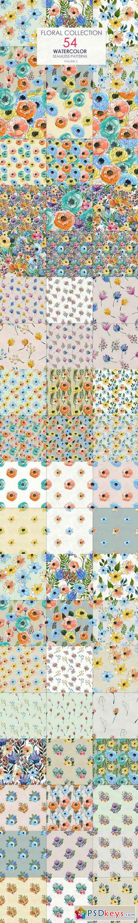 54 floral watercolor patterns 705136