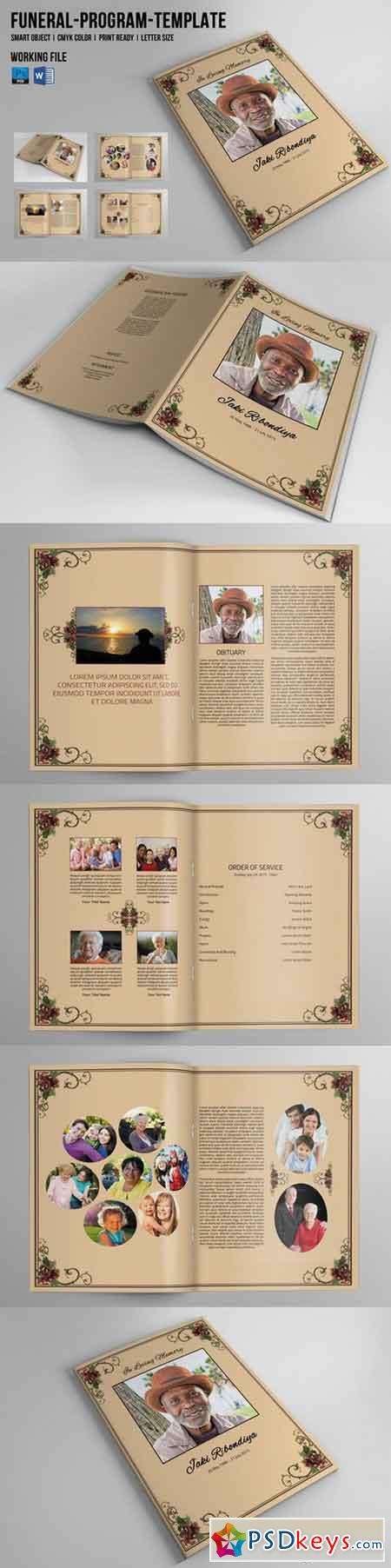 Page Funeral Booklet TemplateV Free Download - 8 page brochure template