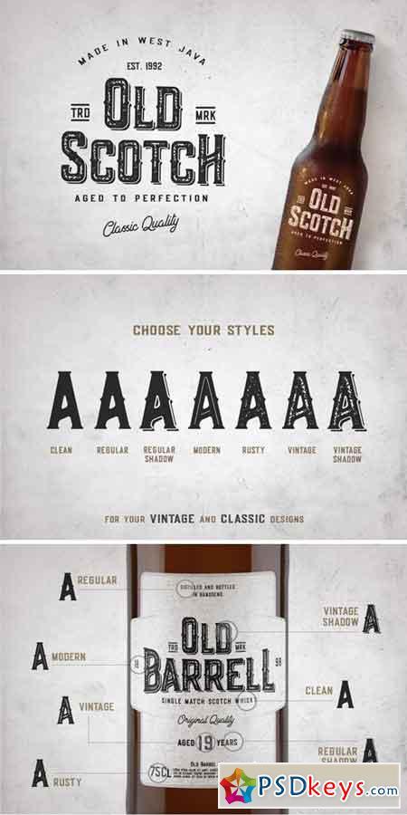 Old Scotch Typeface - 7 Font Styles 718924