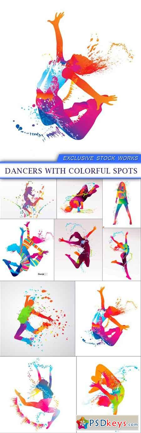 Dancers with colorful spots 10X EPS