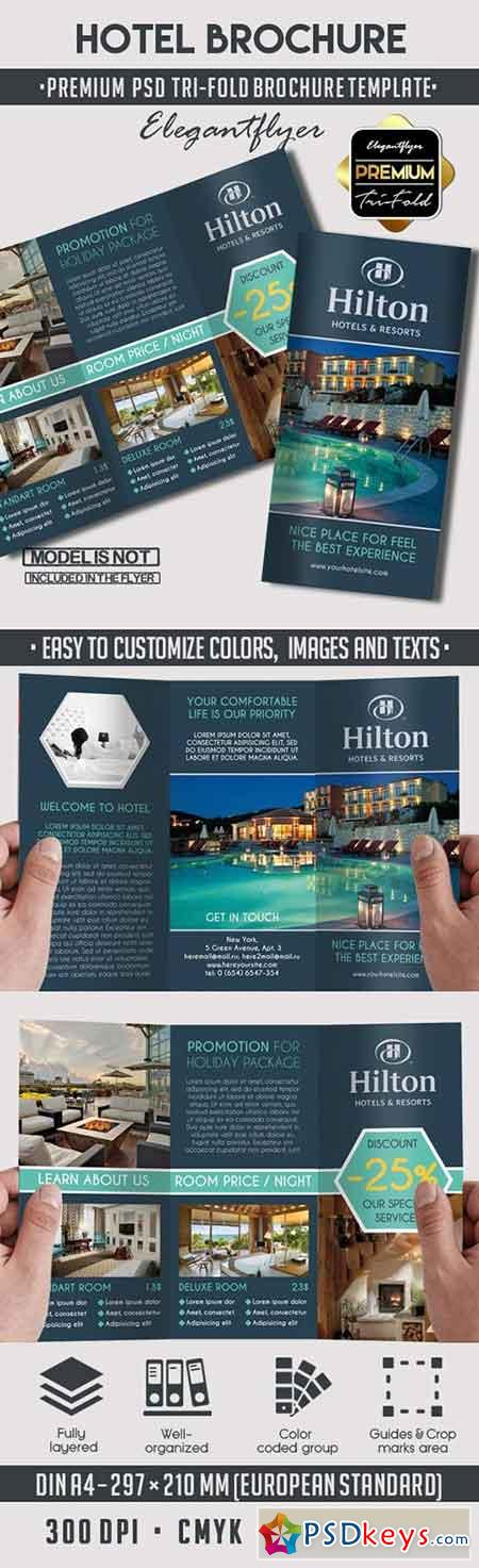 Hotel premium tri fold psd brochure template facebook for Photoshop tri fold brochure template