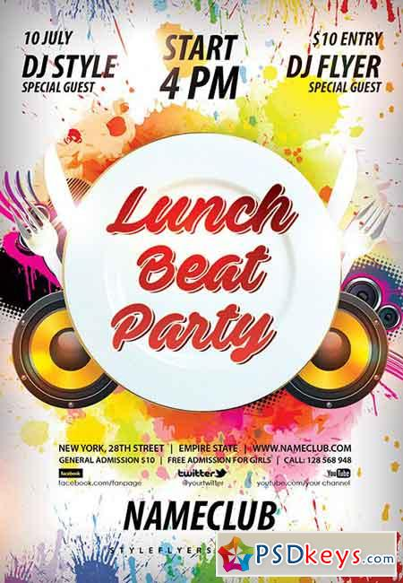 Lunch Flyer Template Lunch Beat Party Psd Flyer Template Facebook