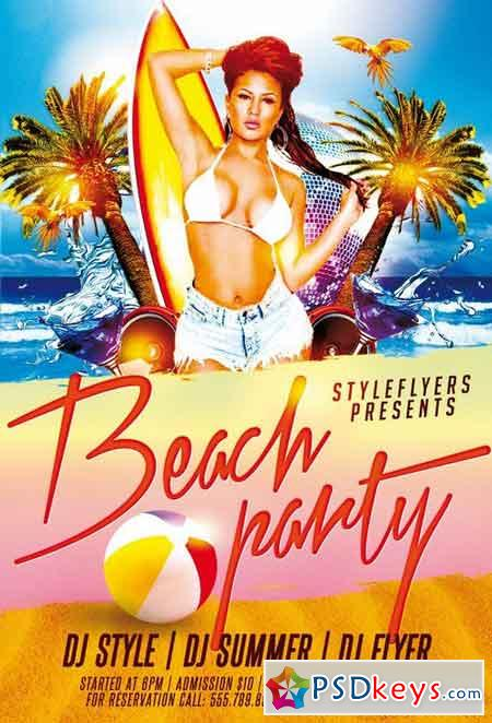Beach Party PSD Flyer Template Facebook Cover Free Download – Beach Party Flyer Template