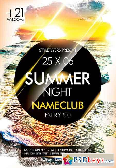 Summer Night Psd Flyer Template  Facebook Cover  Free Download