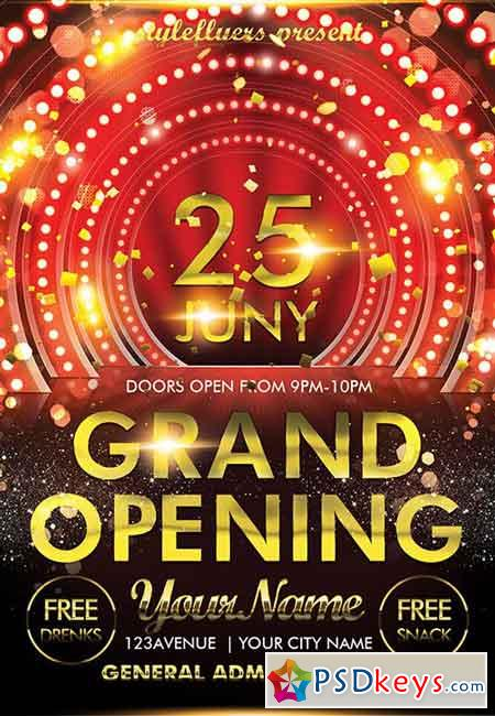 Grand Opening Psd Flyer Template 2 Facebook Cover Free Download