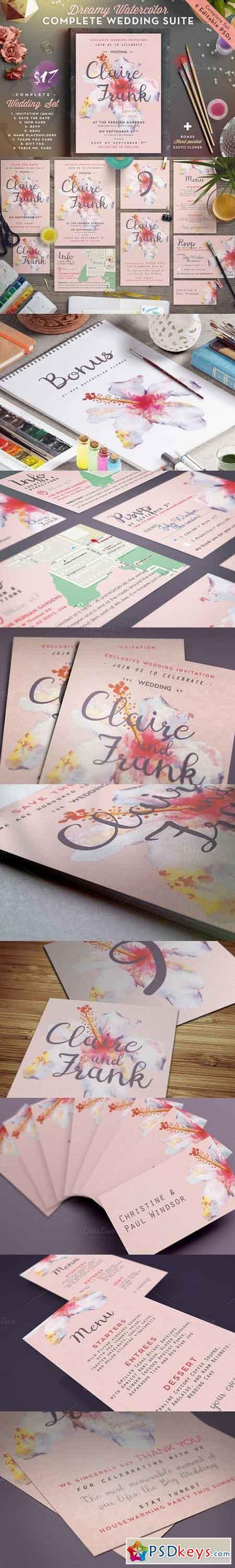 Dreamy Watercolor Wedding Suite IV 723697