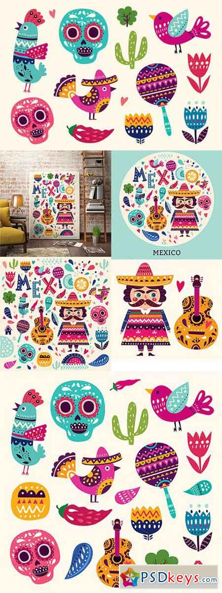 Vector set of Mexican illustrations 552706