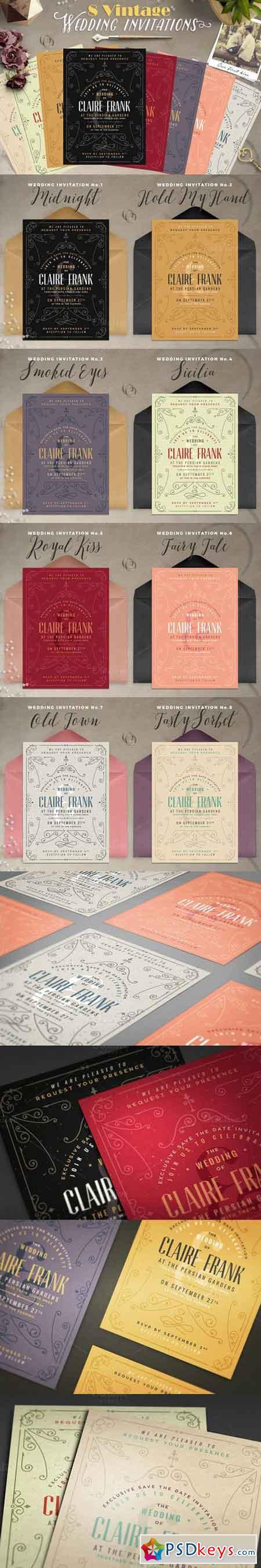 8 Vintage Deco Wedding Invites II 728564