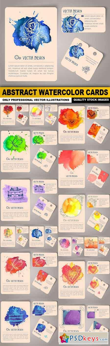 Abstract Watercolor Cards - 15 Vector