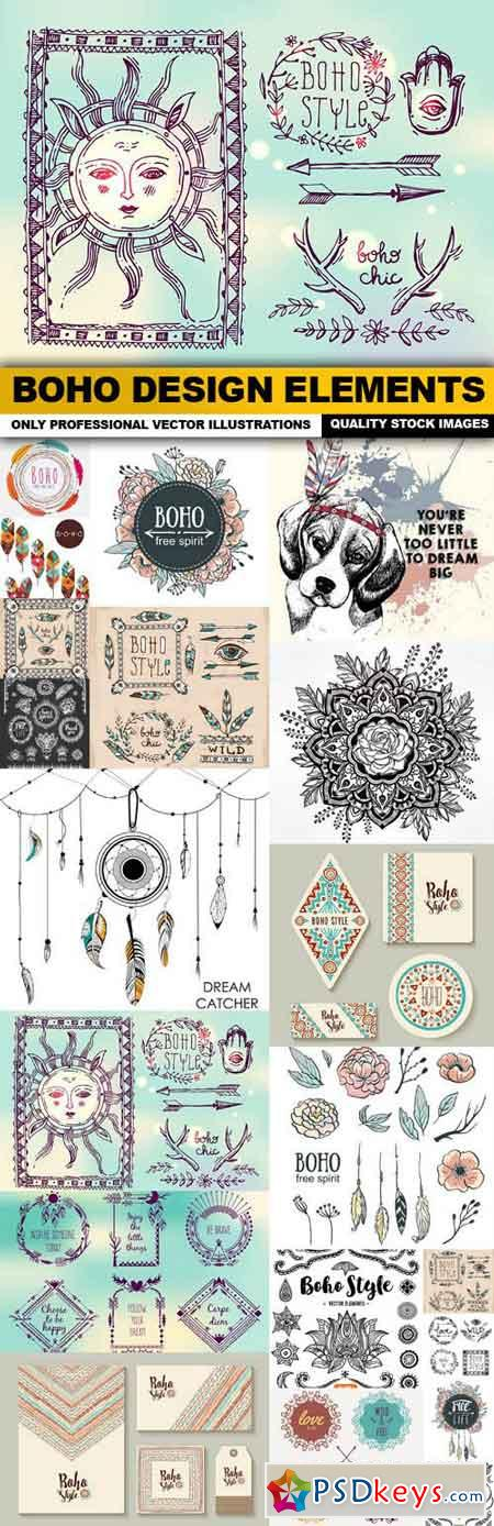Boho Design Elements - 20 Vector