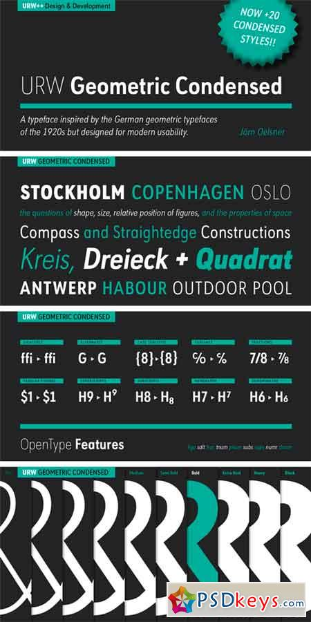 URW Geometric Condensed Font Family » Free Download Photoshop Vector