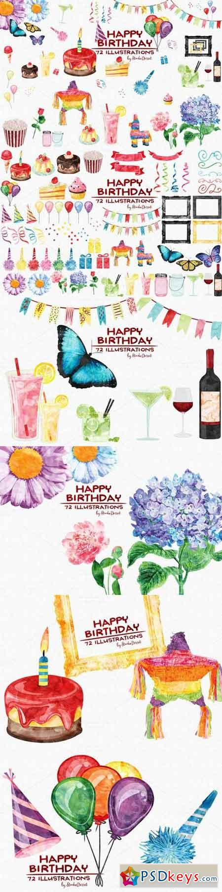 Birthday - Watercolor Cliparts 693862