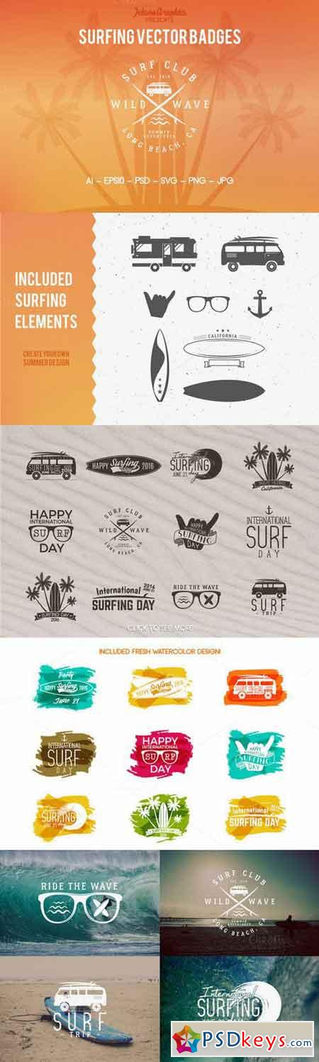 Summer Surfing Badges & Elements 563424
