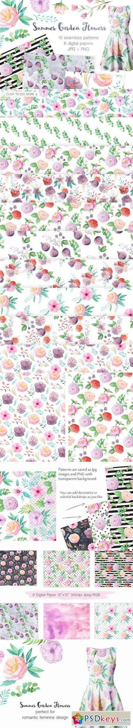Summer Floral Seamless Patterns 689394