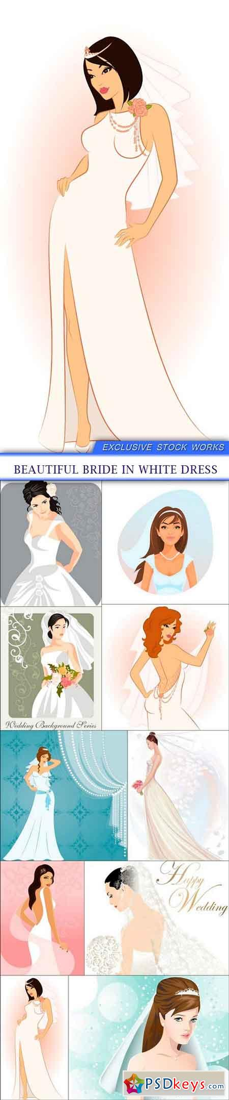 Beautiful bride in white dress 10X EPS