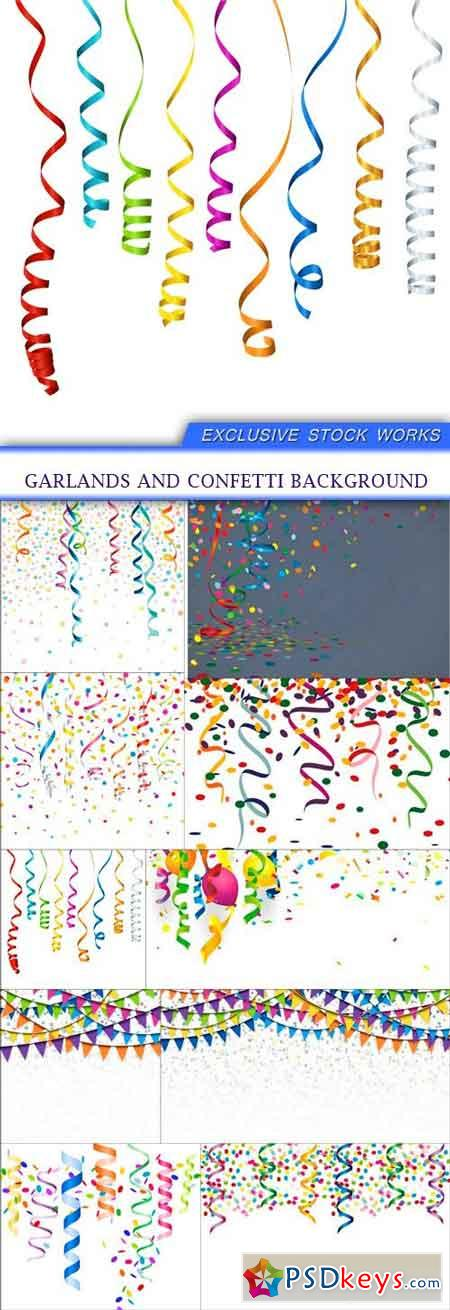 Garlands and confetti background 10X EPS
