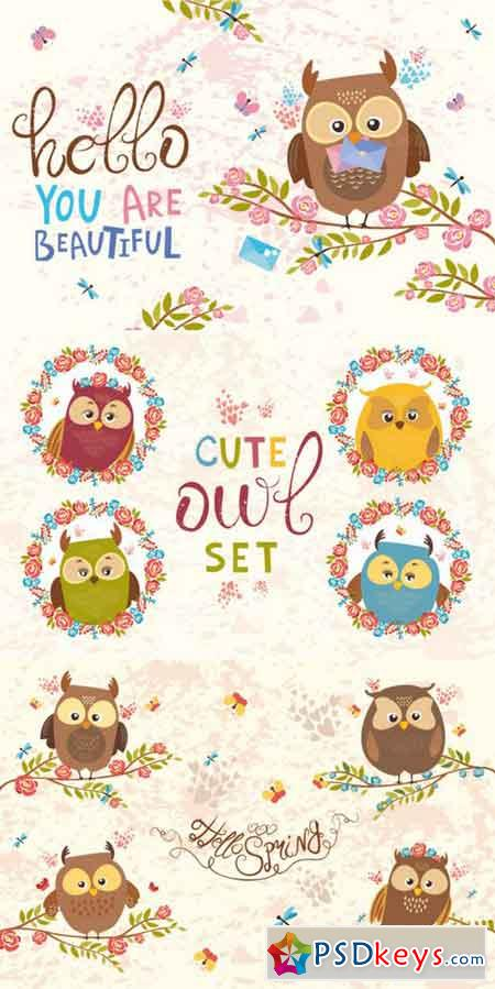 Charming Owls (vector, png, jpg) 635167