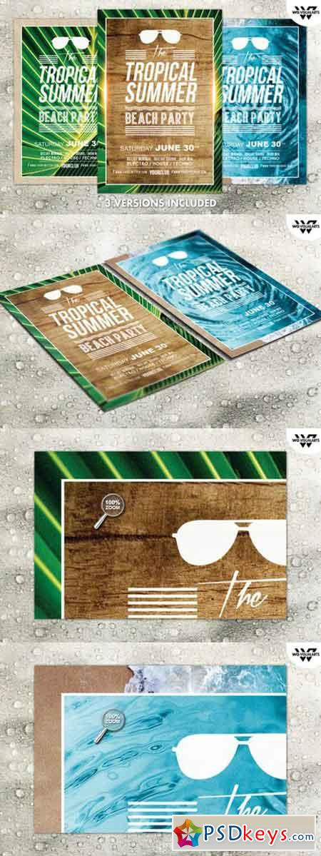 3in1 TROPICAL SUMMER Flyer Template 248004