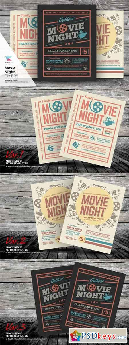 Movie Night Flyer Templates   Free Download Photoshop Vector