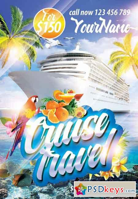 cruise travel psd flyer template   facebook cover  u00bb free