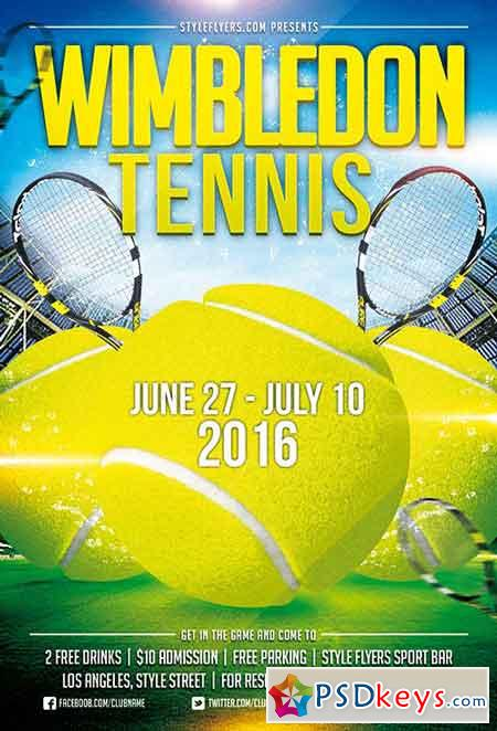Tennis Wimbledon Psd Flyer Template Facebook Cover