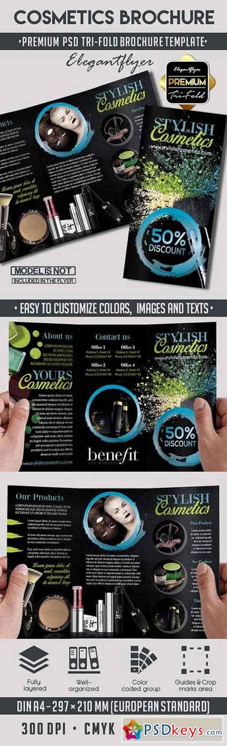 2 fold brochure template photoshop - cosmetics premium tri fold psd brochure template free