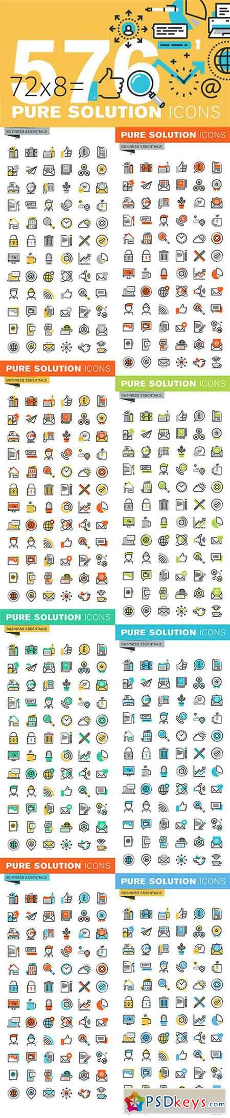 Set of Thin Line Business Icons 522300