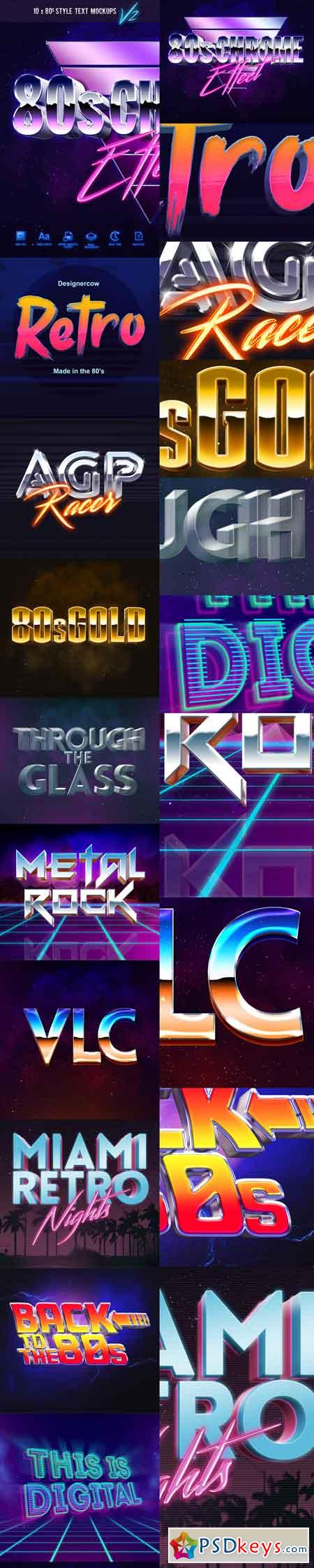 80's Style Text Mockups V2 15489361 » Free Download Photoshop Vector
