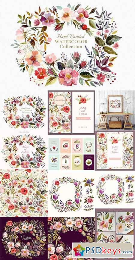 Big watercolor floral collection 615821