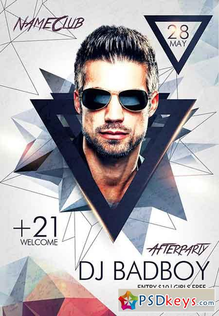 Dj BadBoy Afterparty PSD Flyer Template + Facebook Cover