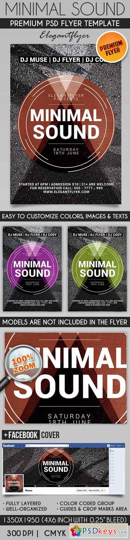 Minimal Sound – Flyer PSD Template + Facebook Cover