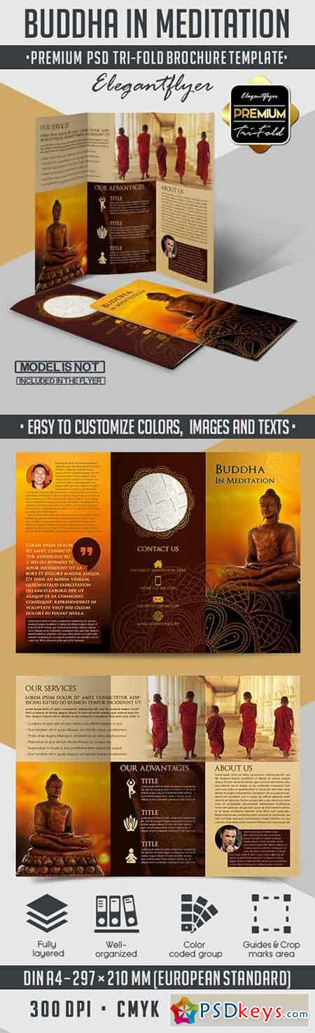 Buddha In Meditation – Tri-Fold PSD Brochure Template