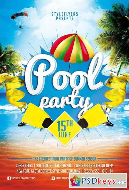 Pool Party Psd Flyer Template + Facebook Cover » Free Download