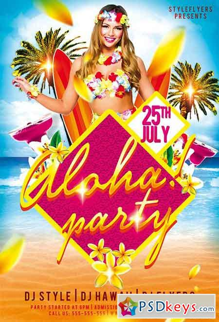 Aloha Party PSD Flyer Template + Facebook Cover
