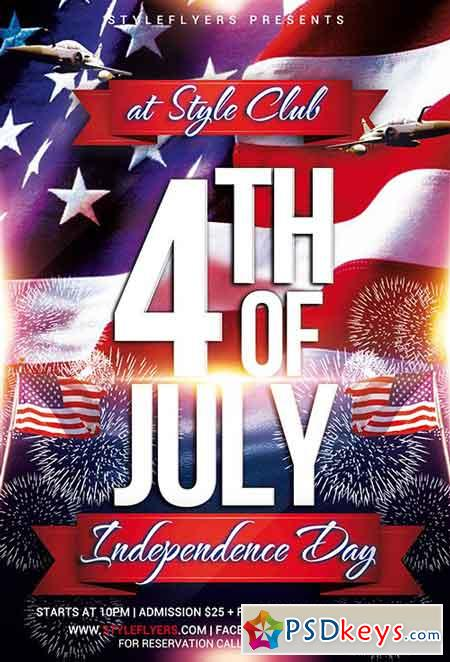 Independence Day Psd Flyer Template + Facebook Cover » Free