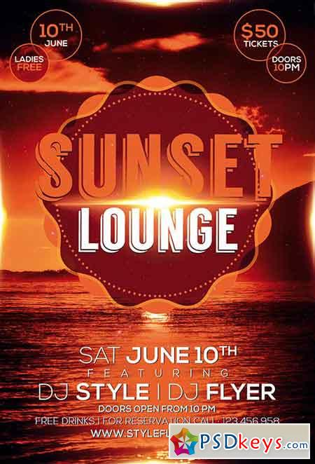 Sunset Lounge PSD Flyer Template + Facebook Cover