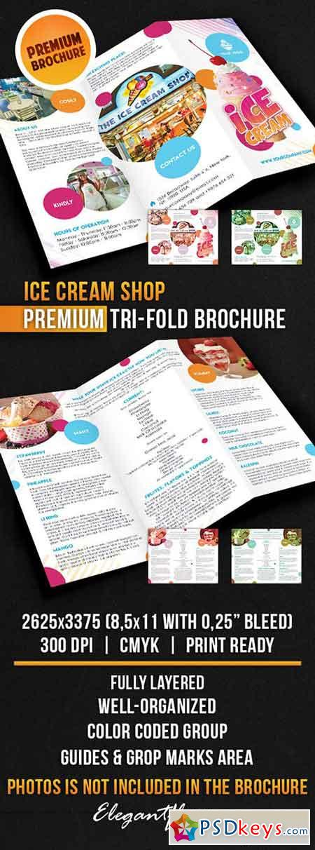 Ice Cream Shop – Tri-Fold Brochure PSD Template