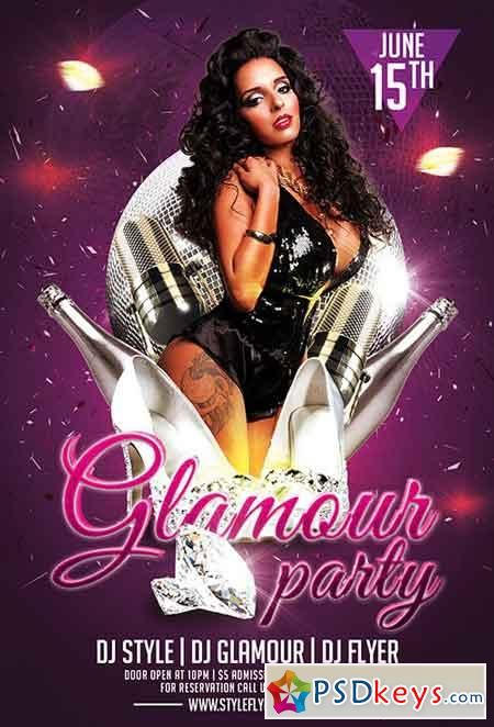 Glamour Party PSD Flyer Template + Facebook Cover