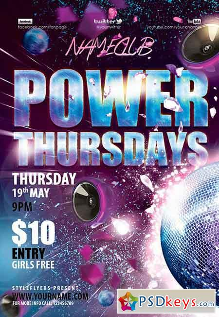 Power Thursdays PSD Flyer Template + Facebook Cover