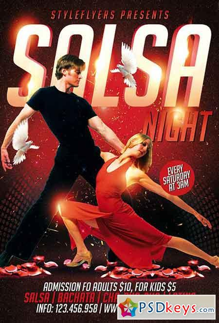 Salsa Night PSD Flyer Template + Facebook Cover