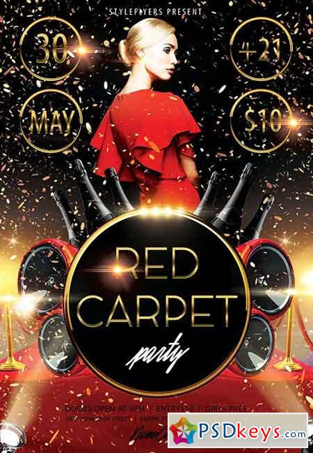 Red Carpet Party PSD Flyer Template + Facebook Cover